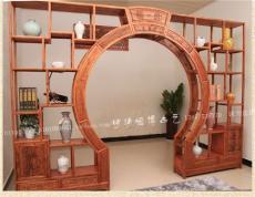 明清仿古中式实木家具双圈月洞门 博古架